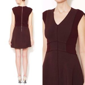 Rebecca Taylor Fit & Flare Silk Piping Dress